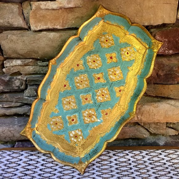 VTG Italy Ornate Tray Turquoise Gold India Morocco